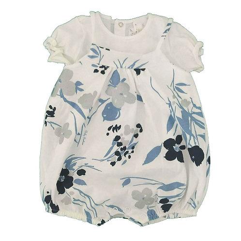 Macacão Curto Floral - Baby Fashion - Branco