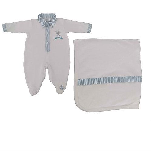 Saída Maternidade Menino Emblema Leão - Baby Fashion - Azul