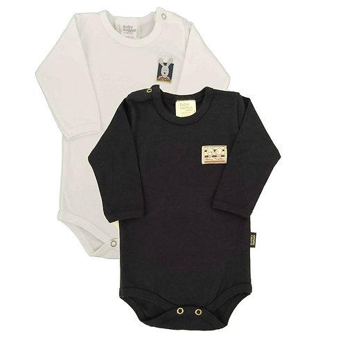 Kit 2 Bodies Bebê Manga Longa- Baby Fashion-Branco e Marinho
