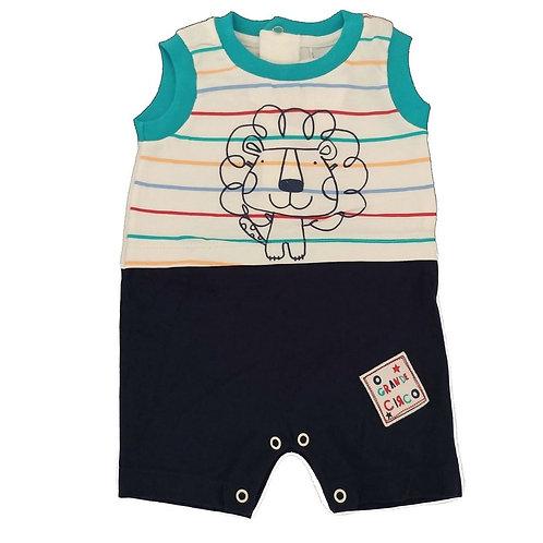 Macacão Curto Leão - Baby Fashion - Marinho