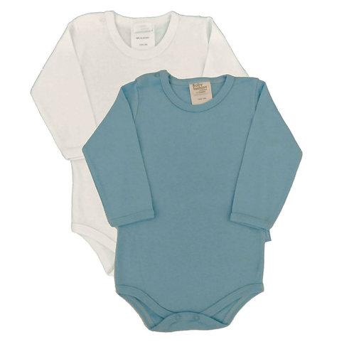 Kit 2 Bodies Bebê Manga Longa- Baby Fashion -Branco e Azul