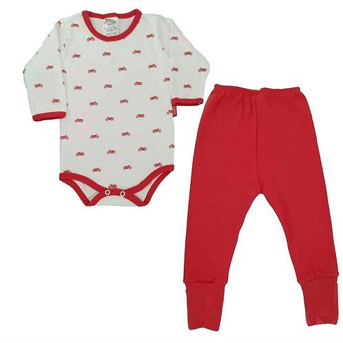 Conjunto Body e Calça Bebê Moto  Baby Fashion - Vermelho