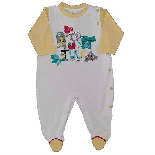 Macacão Suedine Bebê Animais - Baby Fashion - Branco