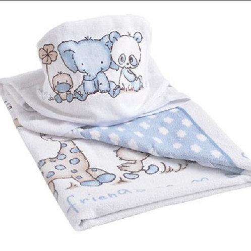 Toalha De Banho Bebê Panda Azul - Colibri