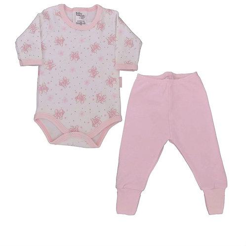 Conjunto Body e Calça Bebê Balé - Baby Fashion - Rosa Bebê
