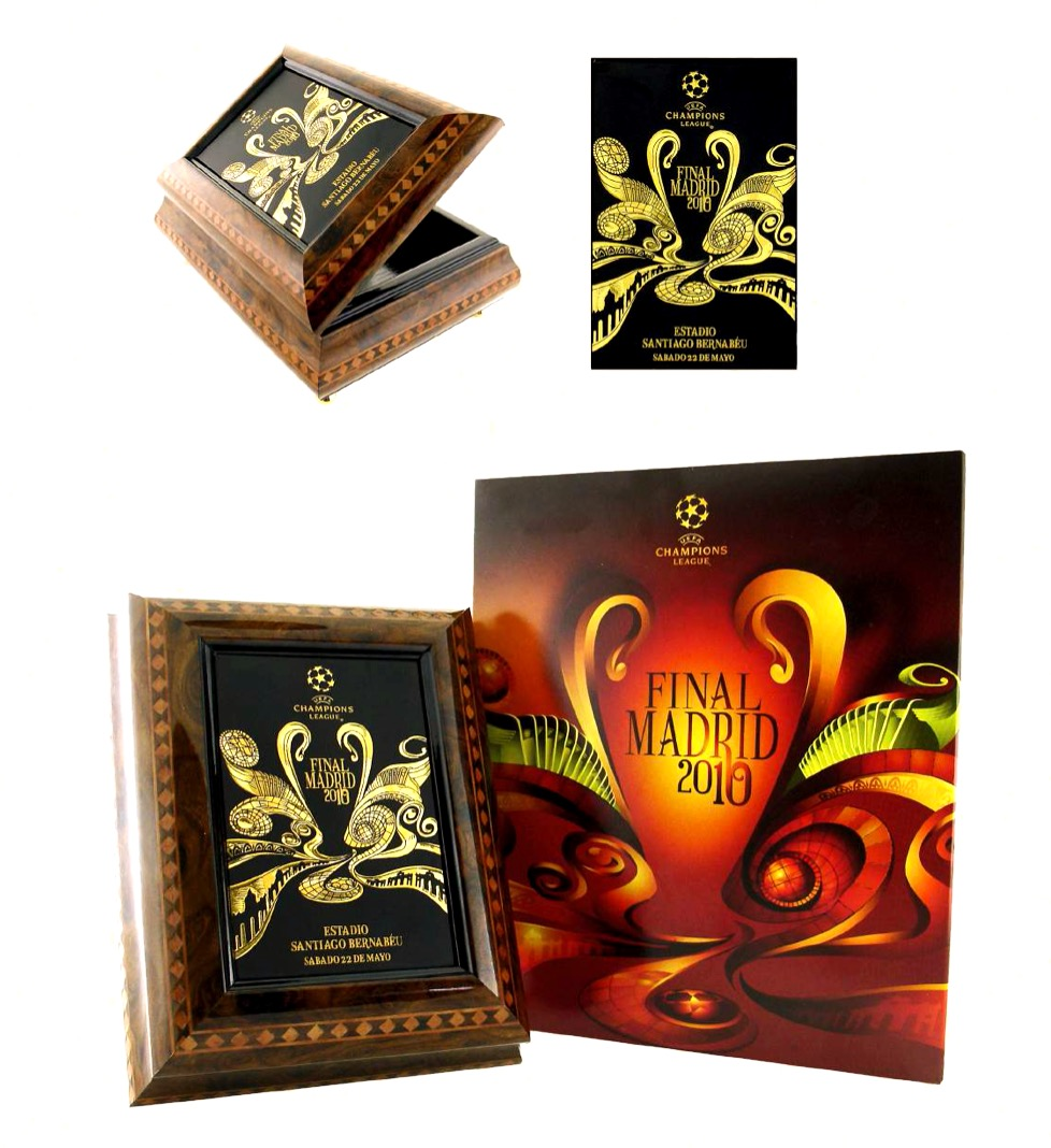 Champions league final match 2010 gold damascene commemorative box