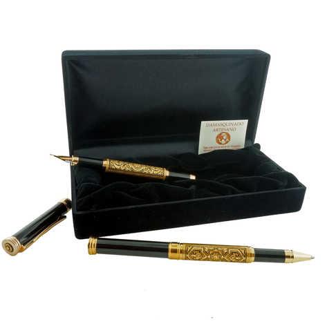High damascene gold fountain pen and pen set