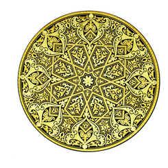 21182 luxury damascene decoration plate with artisan finish
