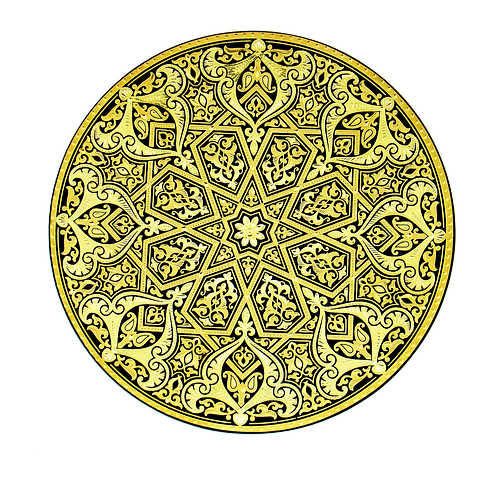 21182 luxury damascene decoration plate with artisan finish