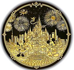 High damascene gold Disney Shanghai VIP gift decorative plate