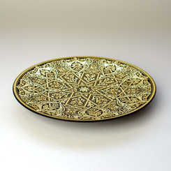 21182 luxury damascene geometric plate with artisan finish