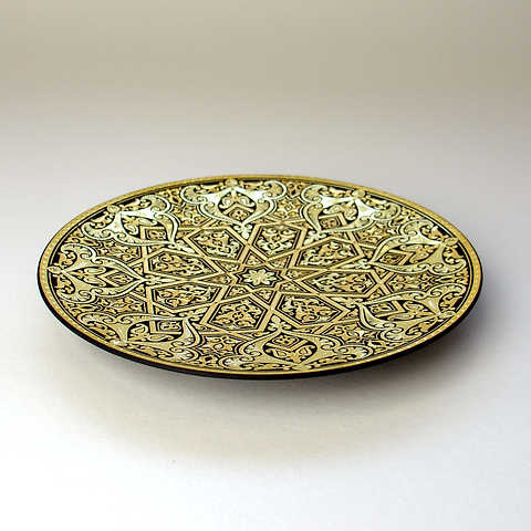 21182 luxury damascene geometric plate with artisan finish