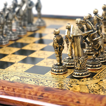 Gold damascene decorative chess set