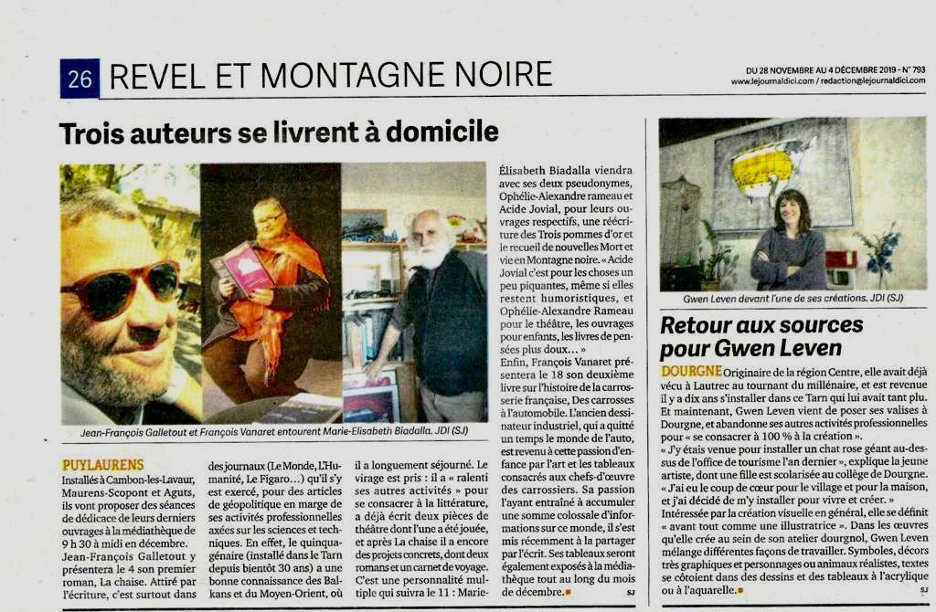 Le journal d'Ici met à l'honneur Jean-François Galletout & son roman La chaise