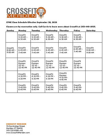 2020 CrossFit class schedule september 2