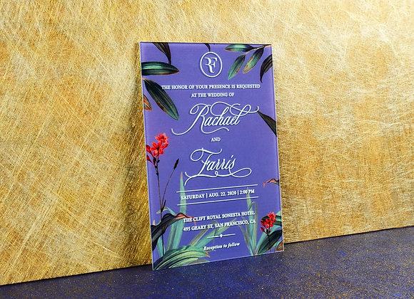 Floral Baskılı Pleksi Davetiye Kartı
