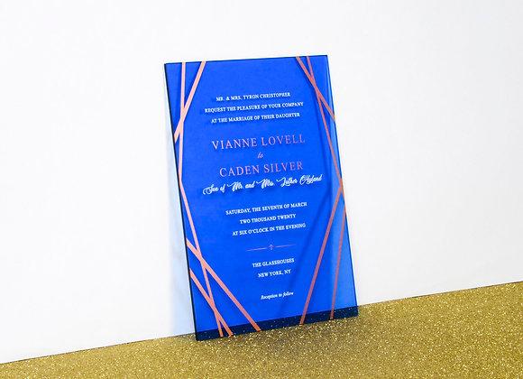Modern Desen Transparan Mavi Pleksi Davetiye Kartı