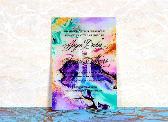 Watercolor Baskılı Pleksi Davetiye Kartı