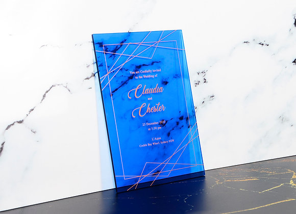 Zikzak Desen Transparan Mavi Pleksi Davetiye Kartı