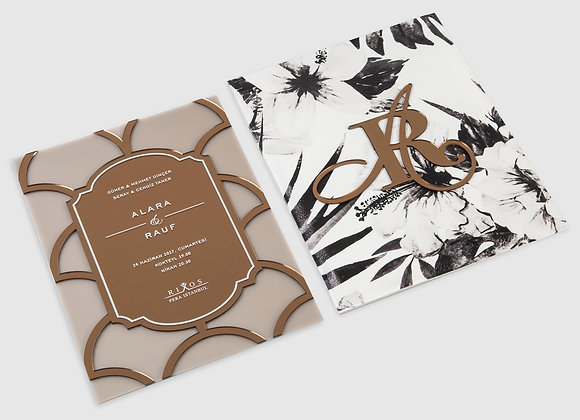 Black&White Floral B'Dream Deri Davetiye