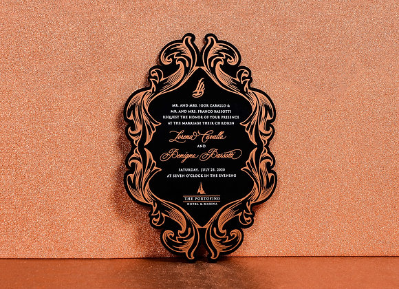 Barok Desen Siyah Pleksi Davetiye Kartı