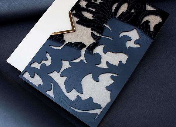 Flora Black Clutch Style Pleksi Davetiye
