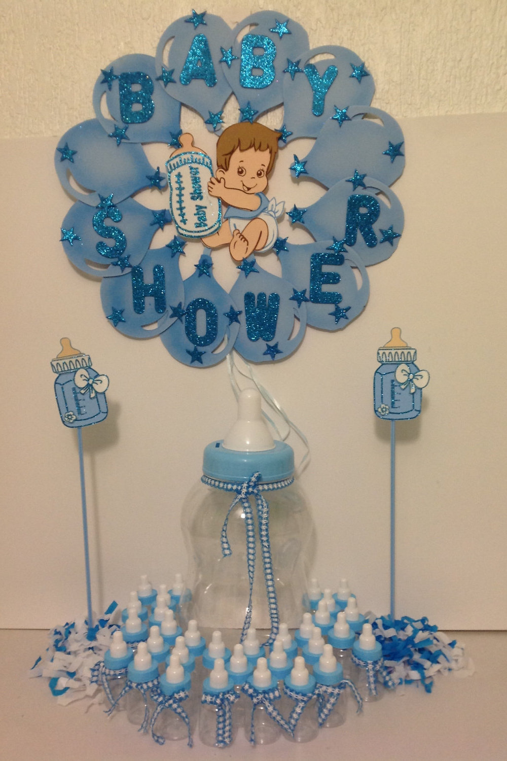 Lovely Large Jumbo Big Baby Milk Bottle Baby Shower Party Favor Souvenir Gift    Includes 20 Baby Bottles For Favor   DECORATED