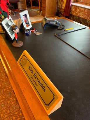 Iowa Governor Kim Reynolds' Desk