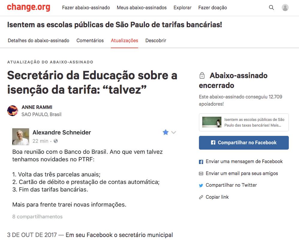 Imagem do site do abaixo assinado sobre a isenção de tarifas de escolas publicas. Tem um número de 12709 assinaturas e logo depois uma informação dizendo que o abaixo assinado foi encerrado