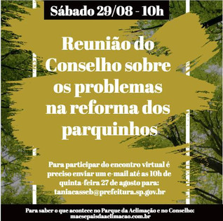 Reunião do Conselho do Parque da Aclimação sobre os problemas na reforma dos parquinhos