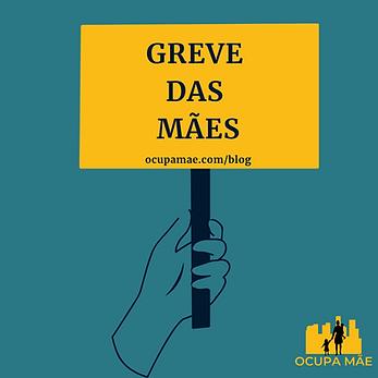 """Fundo verde escuro com uma mão segurando uma placa amarela com o escrito """"A greve das mães"""""""