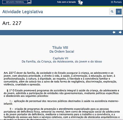 Imagem com o artigo 227 da constituição