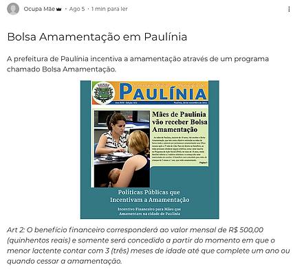 Imagem da página do post sobre a Bolsa Amamentação em Paulínia