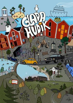 Glada Hudik Staden jag är född och uppväxt i. Detta var en skoluppgift på Berghs och syftet var att tolka sin hemstad och kommun i en översiktsbild. 2018