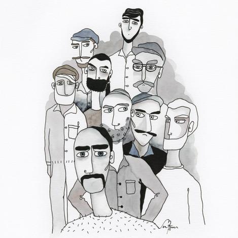Illustrationsuppdrag för Pappers avd. 15.  10 illustrationer i samma stil. Akvarell och fineliner. 2017
