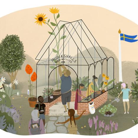 Illustrationsuppdrag Hudiksvalls Näringslivs AB. Företagande på lika villkor. Fyra illustrationer i samma stil.