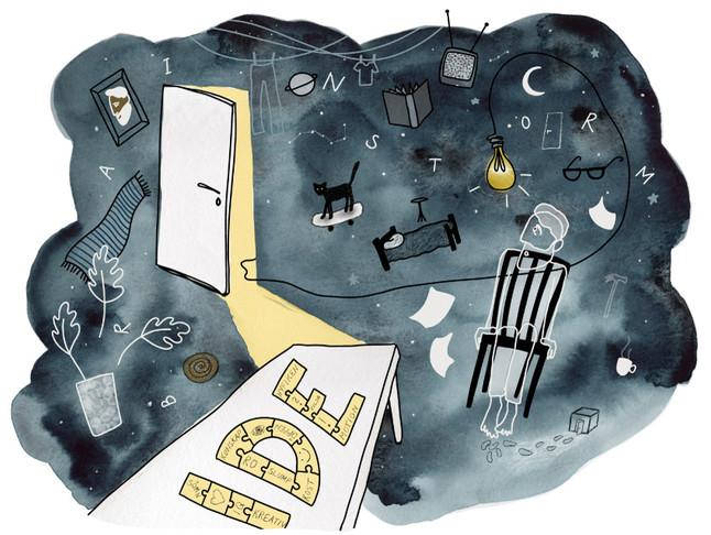 Skoluppgift Berghs SoC. Vad är en idé och hur kan en idéprocess se ut? Akvarell och digitalt.
