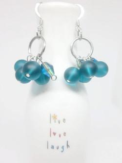 Peacock Blue Cluster Earrings