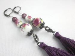 Porcelain Detachable Tassel Earrings