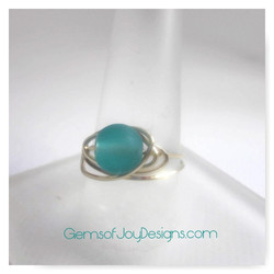Frosted Sea Green Wire Wrapped Ring