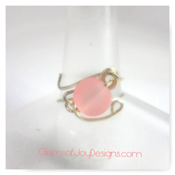 Frosted Blush Pink Wire Wrapped Ring