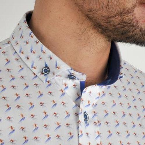 Bewley & Ritch Hawaii white and blue shirt