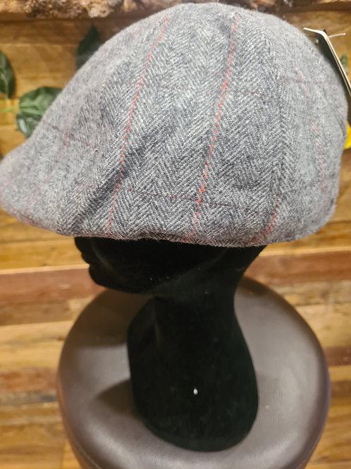 Peak Hat - light grey with red line