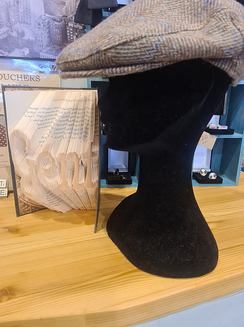 Peak Hat -brown/green herringbone