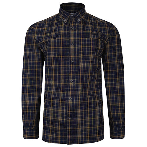 Peter Gribby - Long Sleeved checked shirt Gold and Indigo