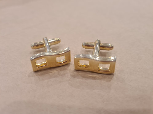 Contemporary look cufflinks - gold metal