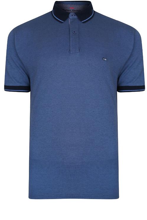 Peter Gribby - Two Tone Pique Polo Shirt - Denim