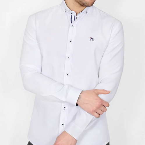 Bewley & Ritch - Oxford Long sleeved shirt - white