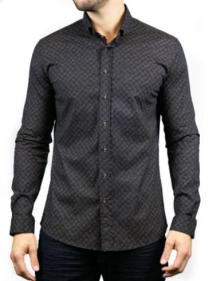 Bewley & Ritch - Long sleeved shirt - Navy and orange