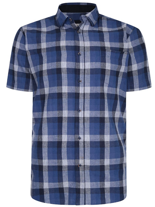 Peter Gribby - Linen/cotton check shirt - indigo